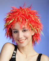 Red curly party wig,synthetic football fans wig 7517
