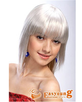 White color synthetic hair wigs manufacture 2901