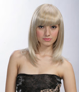 Lady's long blonde hair style synthetic wig E0702
