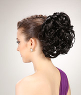 Fake black curly hair pieces accessories for salon YS-8171