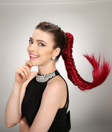 Red hair clip ponytail hairpieces,kanekalon hair product YS-8185A