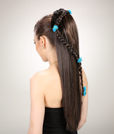 Claw clip ponytail hairpieces with braids YS-8161